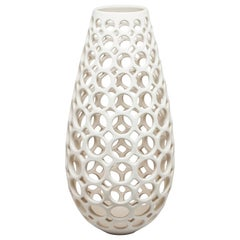 White Pierced Elongated Teardrop Shaped Tabletop Sculpture/ Candleholder
