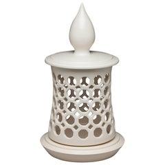 White Pierced Minaret Top Ceramic Candle Lantern