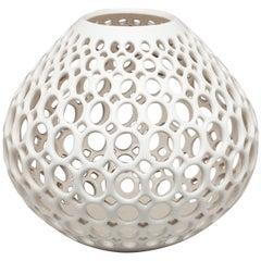 White Pierced Teardrop Shaped Tabletop Sculpture/ Candleholder