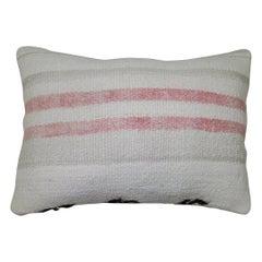 White Pinky Red Black Bottom Striped Vintage Turkish Kilim Pillow
