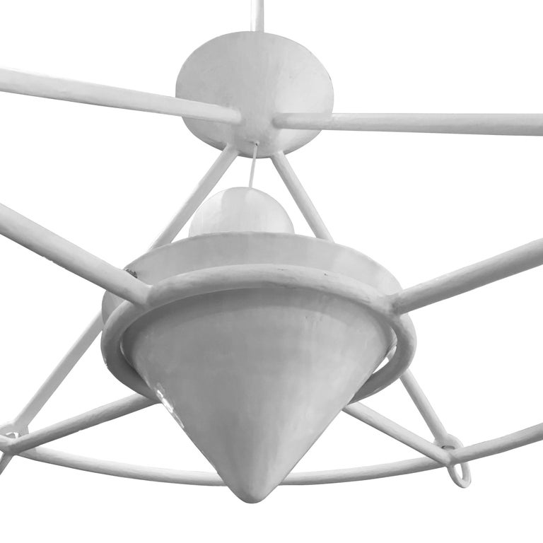 English White Plaster Chandelier, England, Contemporary For Sale
