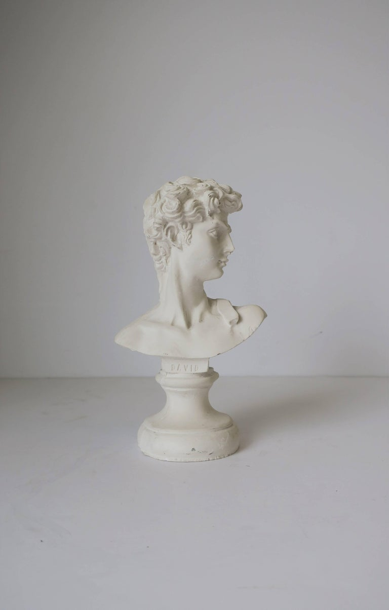 Unknown White Plaster Classic Roman Style Bust Sculpture of the David For Sale