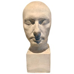 White Plaster Death Mask Male Head on Stand