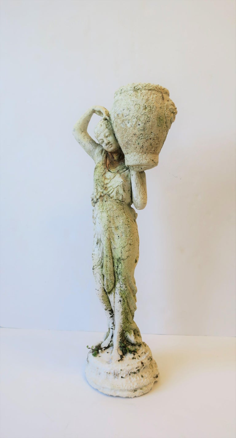 White Plaster Female Garden Sculpture with Decorative Pot For Sale 10