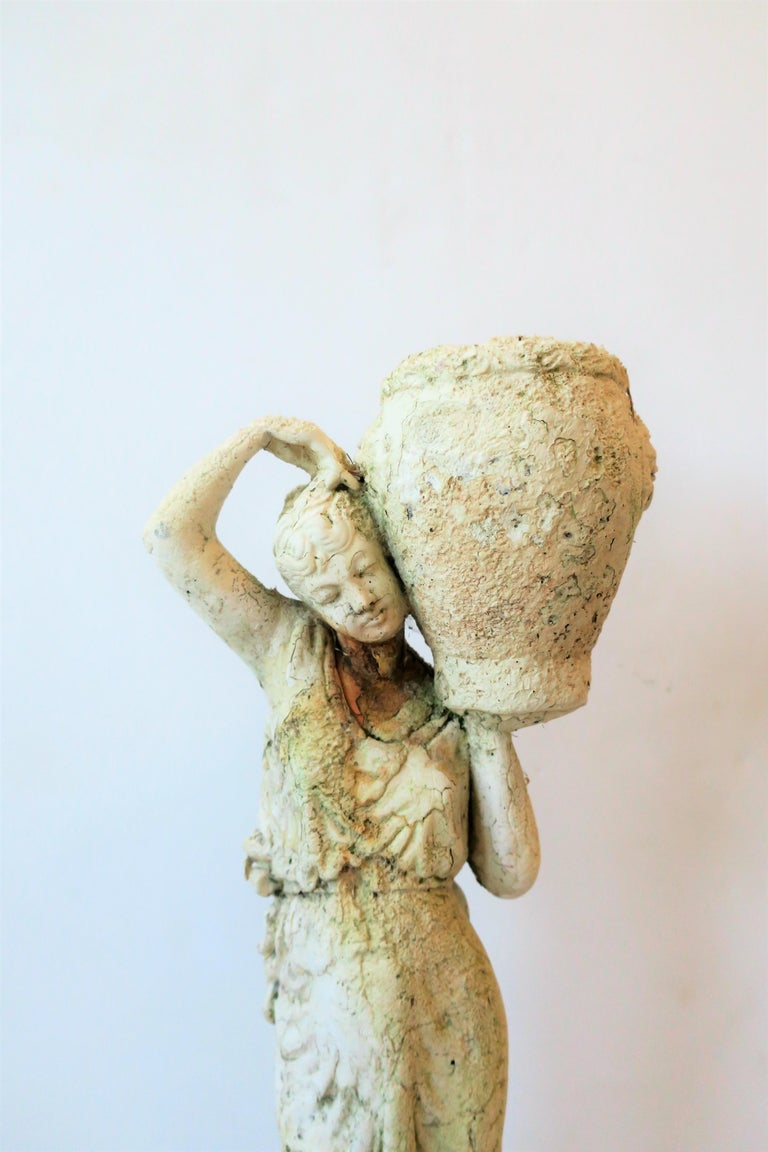Italian White Plaster Female Garden Sculpture with Decorative Pot For Sale