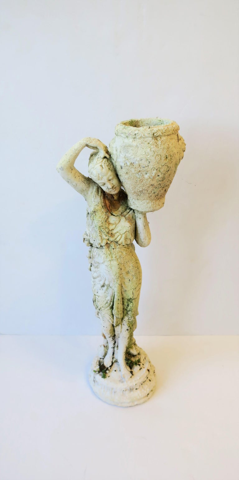 White Plaster Female Garden Sculpture with Decorative Pot In Good Condition For Sale In New York, NY