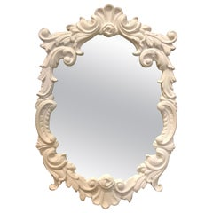 White Plaster Framed Mirror Thick, 1940s