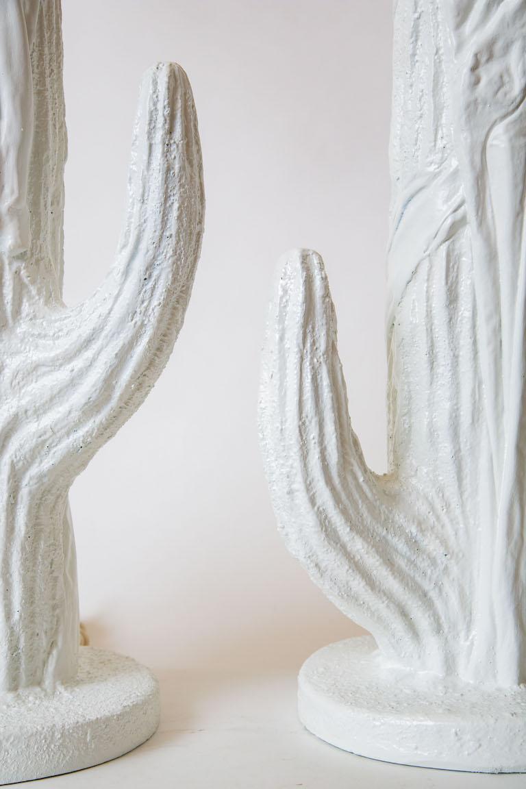 Organic Modern Pair of White Plaster of Paris Cactus Lamps Vintage For Sale