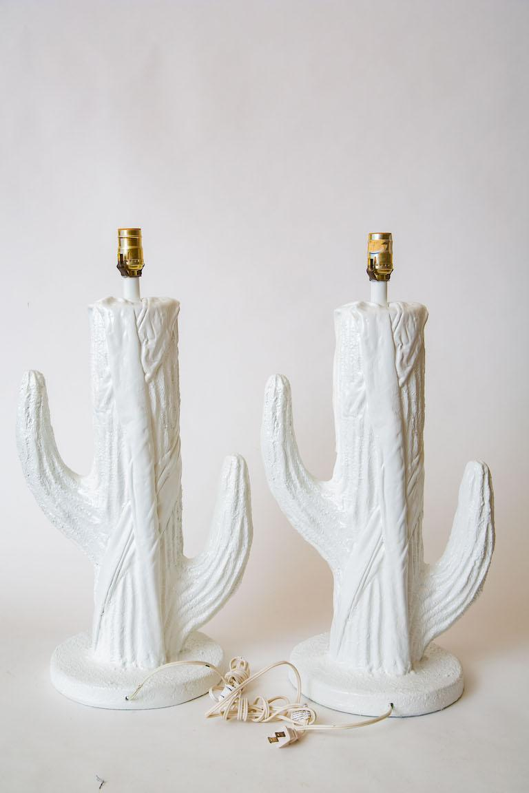 Late 20th Century Pair of White Plaster of Paris Cactus Lamps Vintage For Sale