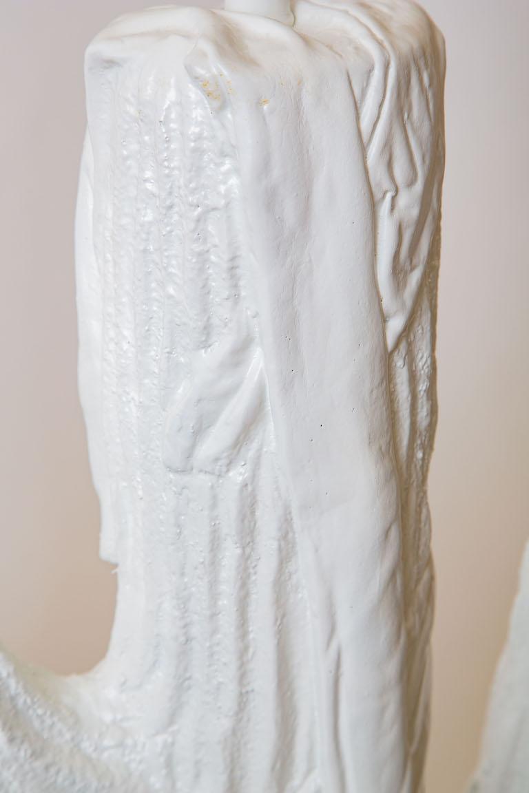 Pair of White Plaster of Paris Cactus Lamps Vintage For Sale 1