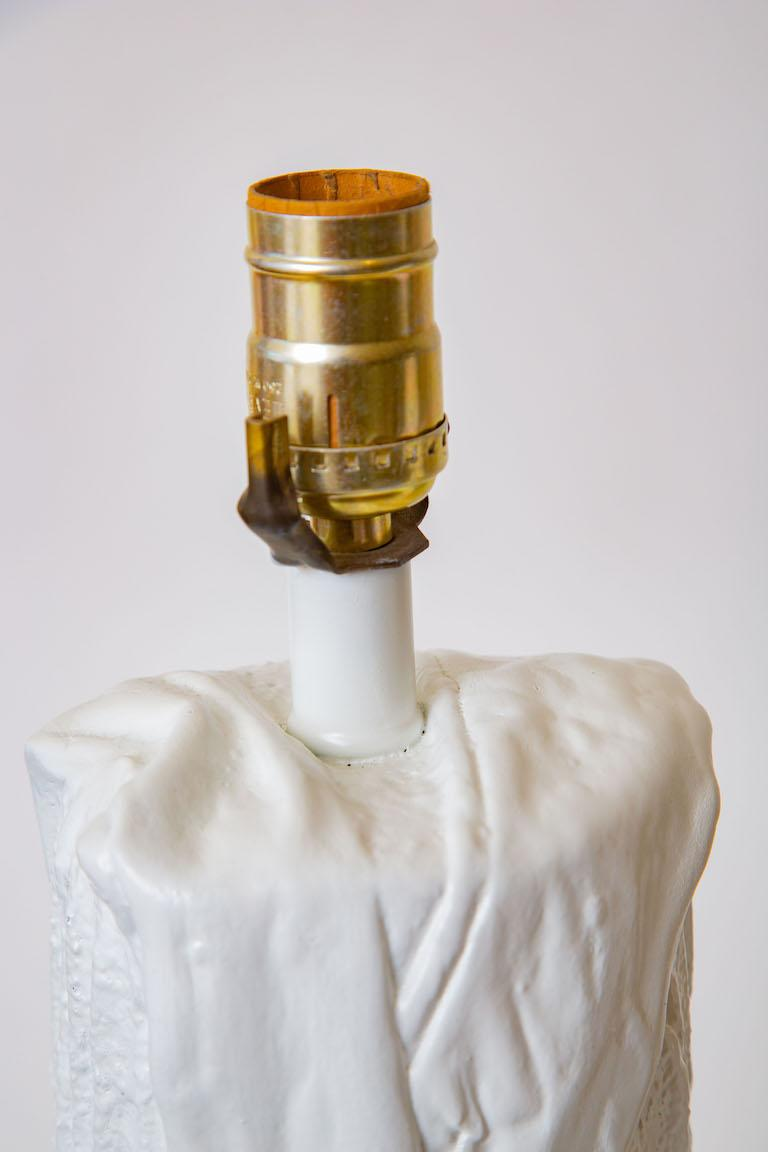 Pair of White Plaster of Paris Cactus Lamps Vintage For Sale 3