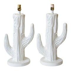 White Plaster of Paris Cactus Lamps Vintage Pair of