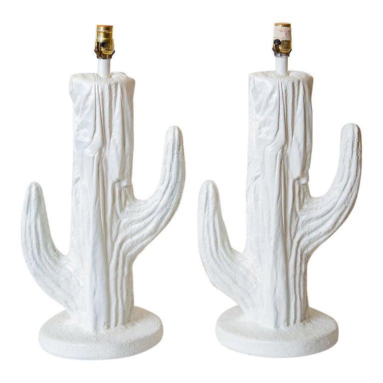 Pair of White Plaster of Paris Cactus Lamps Vintage For Sale