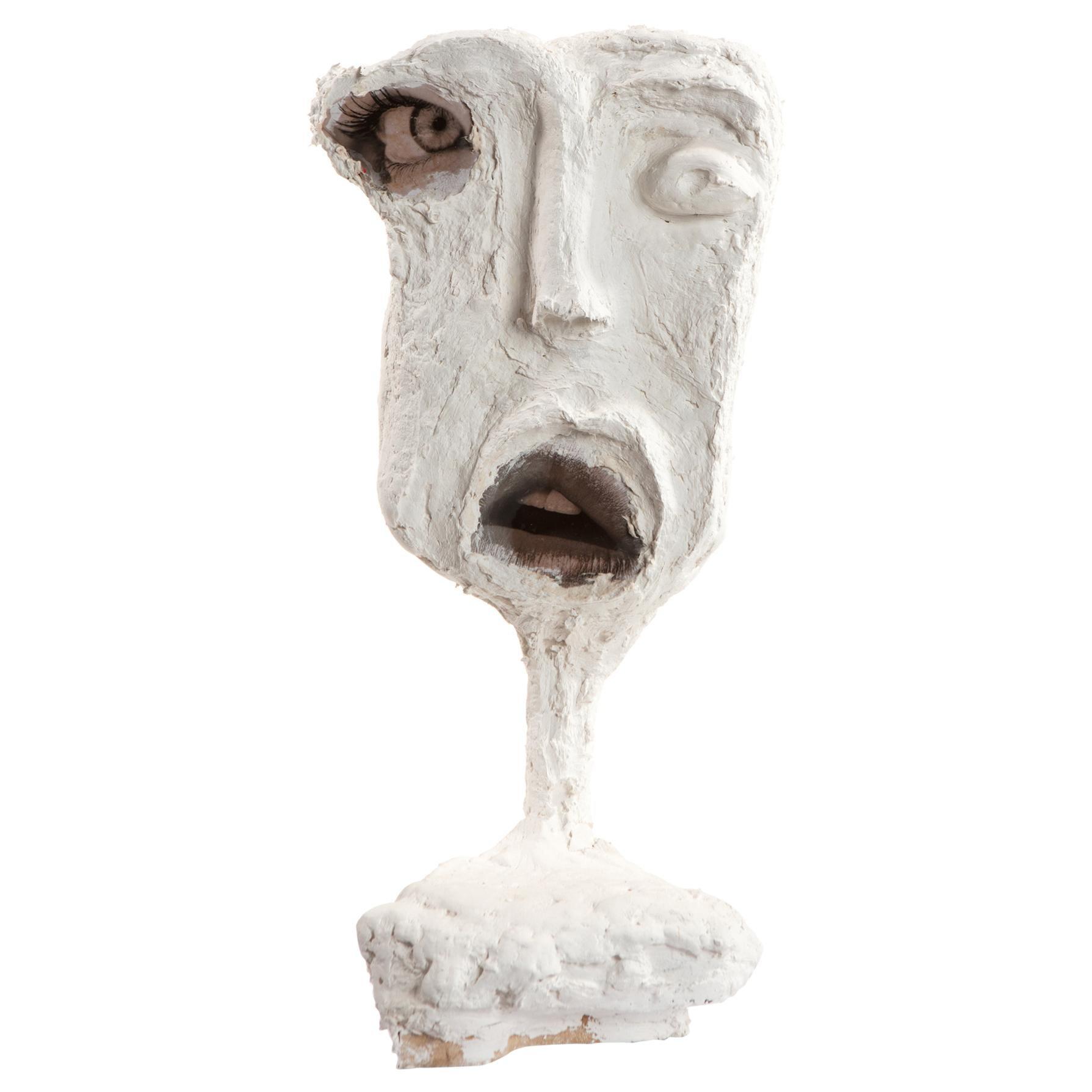 White Plaster Sculptural Figure Face, 21st Century by Mattia Biagi