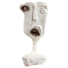 White Plaster Sculptural Figure Face, 21st Century by Mattia Biagi