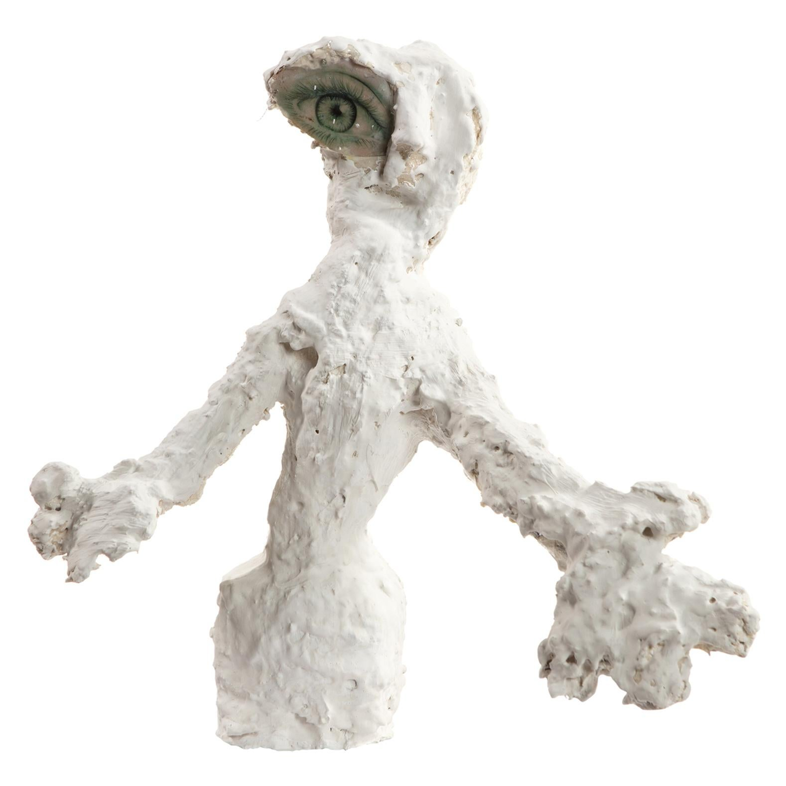 White Plaster Sculpture Man Figure, 21st Century by Mattia Biagi