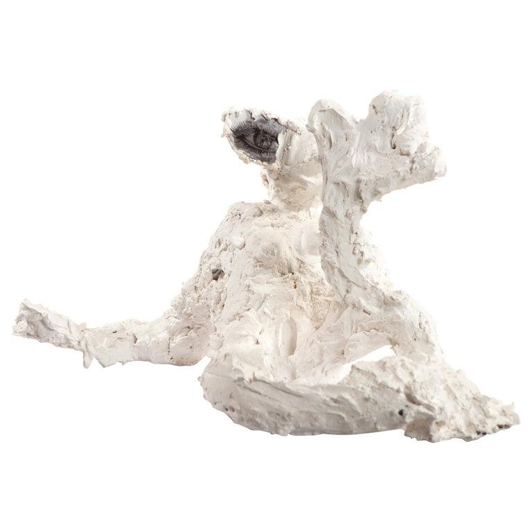 White Plaster Sculpture Woman Figure, 21st Century by Mattia Biagi