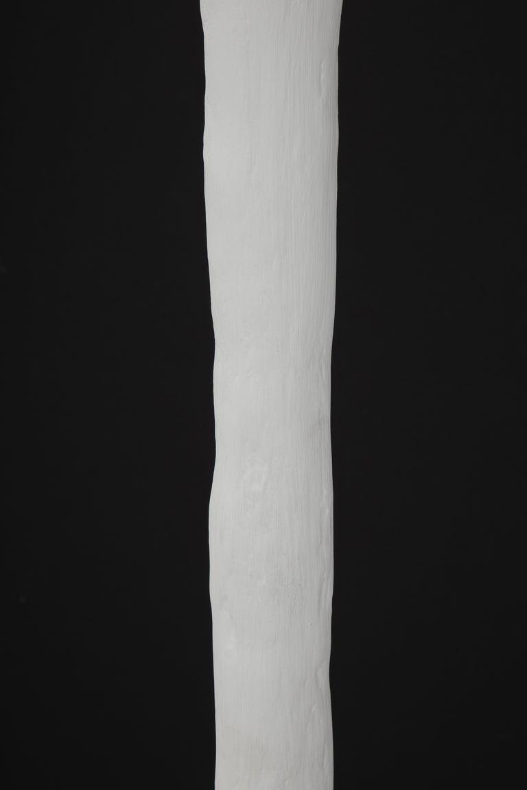 Minimalist White Plaster Torchiere Lamp by Kasper Dolatowski