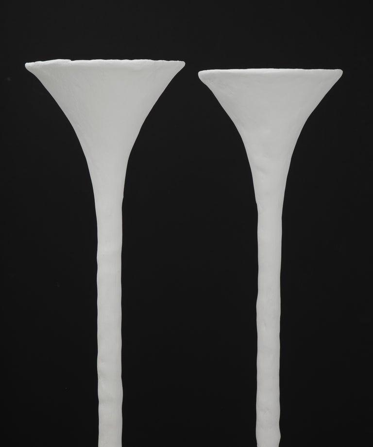 American White Plaster Torchiere Lamp by Kasper Dolatowski