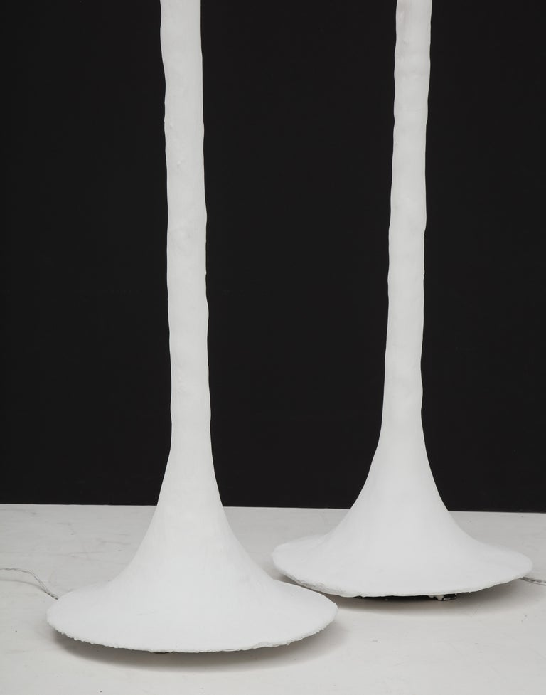 Hand-Crafted White Plaster Torchiere Lamp by Kasper Dolatowski