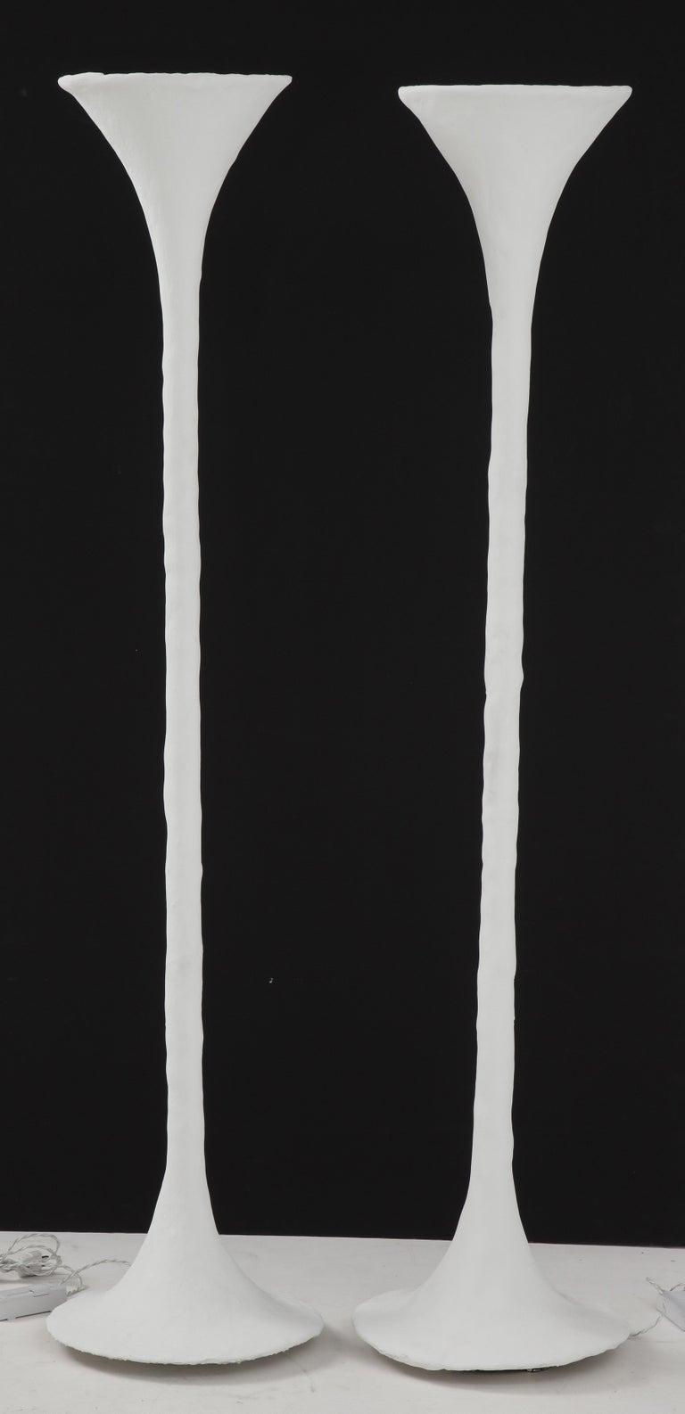 Contemporary White Plaster Torchiere Lamp by Kasper Dolatowski