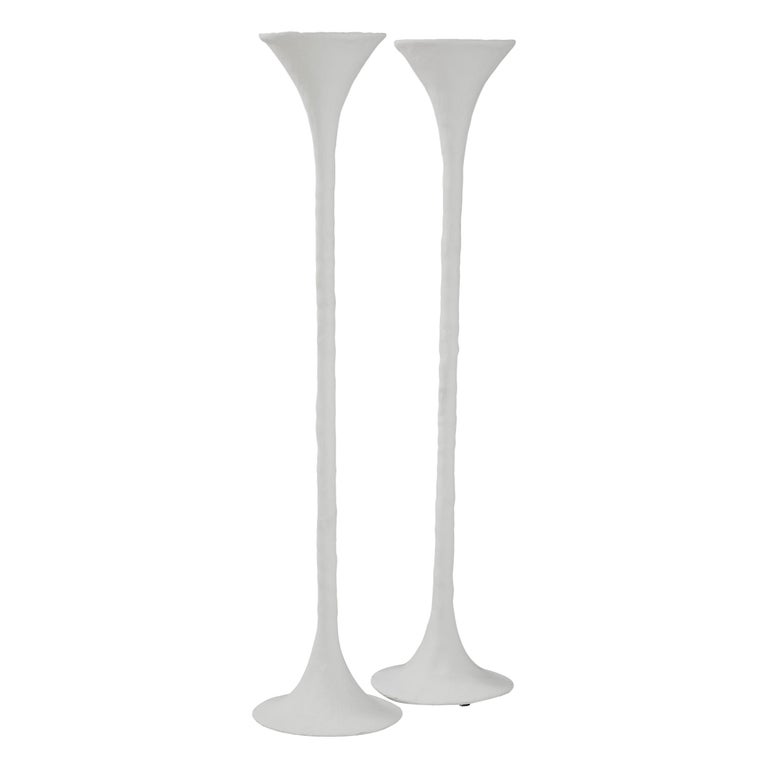 White Plaster Torchiere Lamp by Kasper Dolatowski