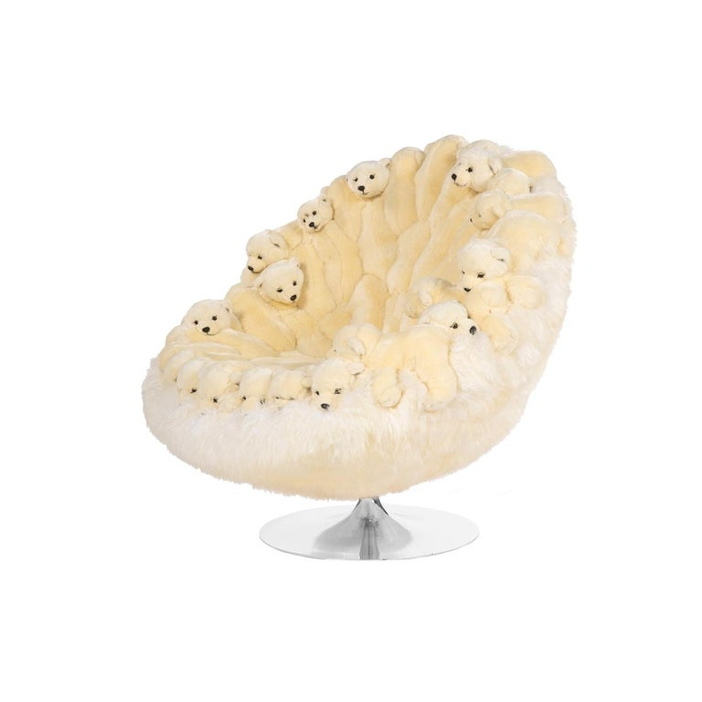 Modern In stock in Los Angeles, White Polar Bear Lounge Swivel Chair For Sale