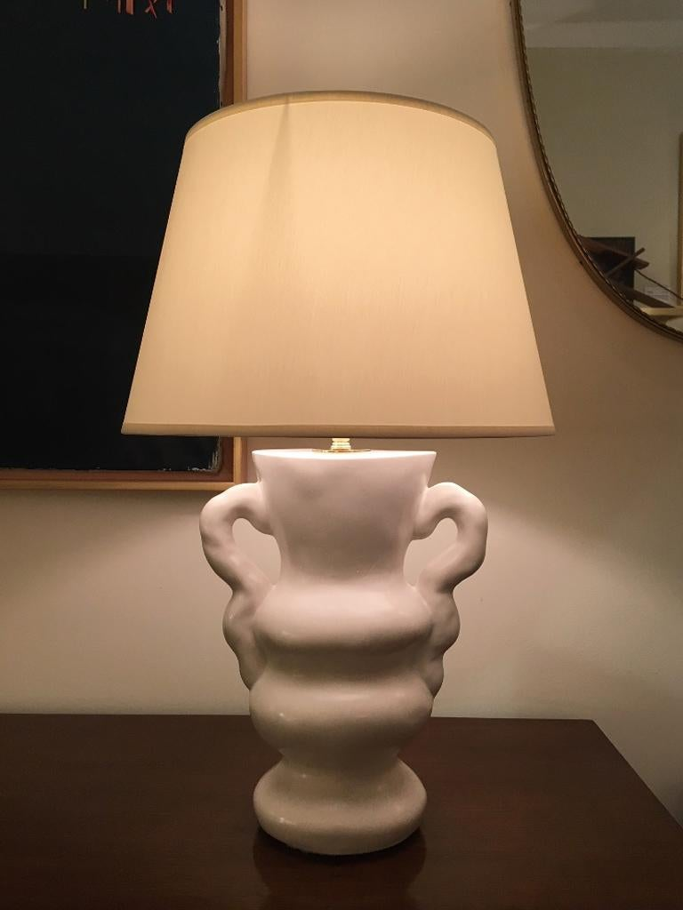 White Polished Plaster Table Lamp, by Dorian Caffot de Fawes For Sale 7