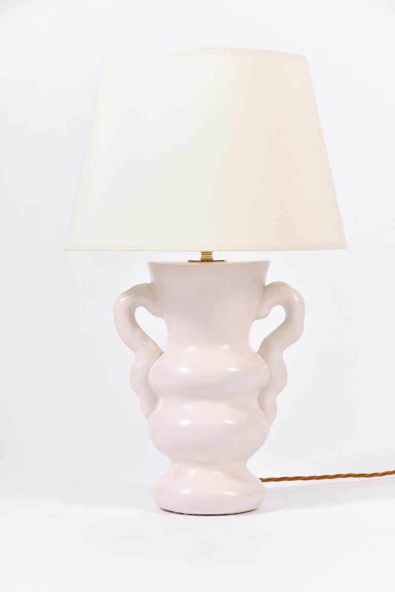 English White Polished Plaster Table Lamp, by Dorian Caffot de Fawes For Sale