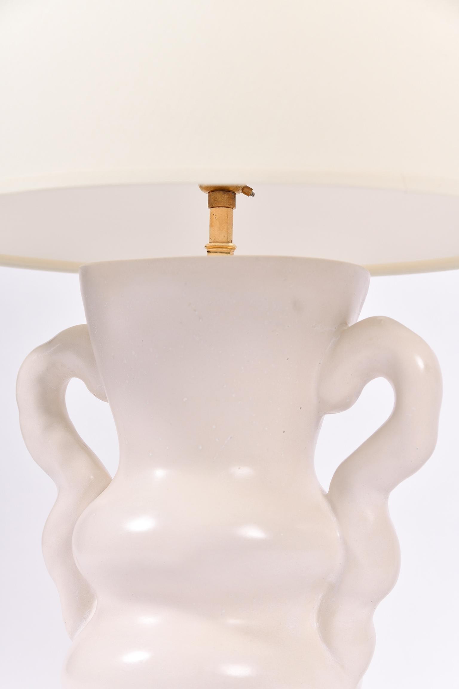 White Plaster Table Lamp, by Dorian
