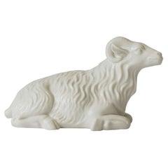 White Porcelain Animal Ram Sculpture