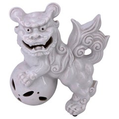 White Porcelain Antique Japanese Foo Dog Sculpture