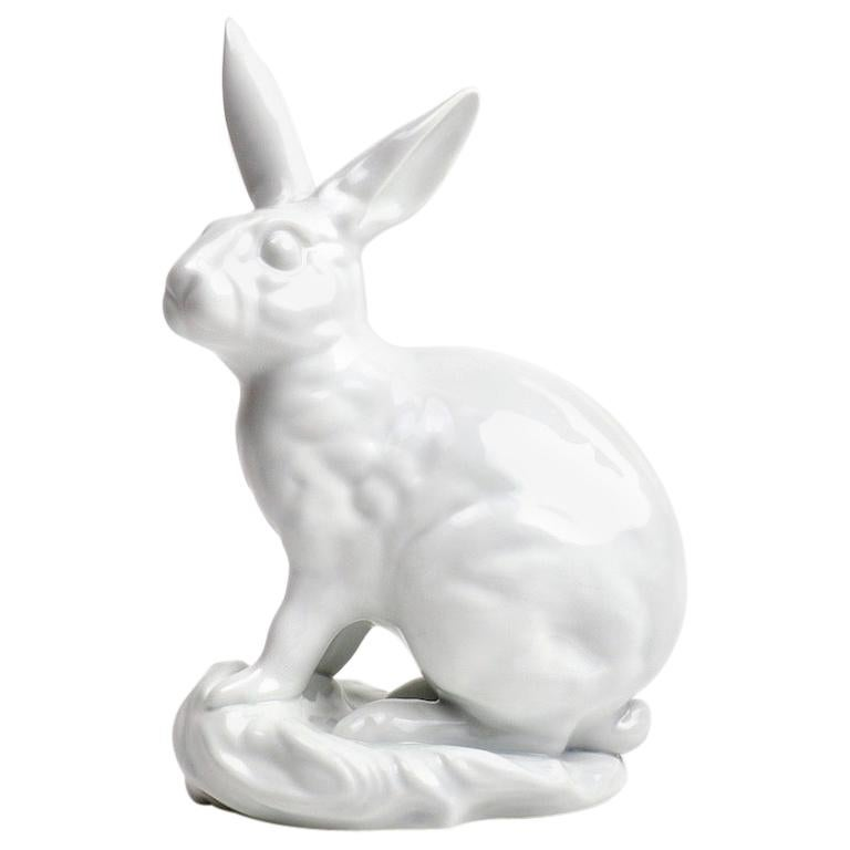 White Porcelain Blanc de Chine Rabbit by Eva Vastagh for Herend