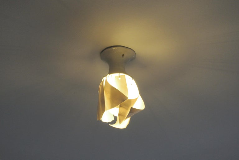 White Porcelain Ceiling Lamp with Hanging Porcelain Petals 2