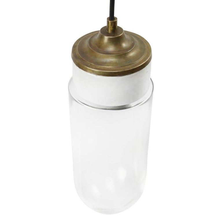 Porcelain industrial hanging lamp. White porcelain, brass and clear glass. 2 conductors, no ground.  Weight: 1.40 kg / 3.1 lb  Priced per individual item. All lamps have been made suitable by international standards for incandescent light bulbs,