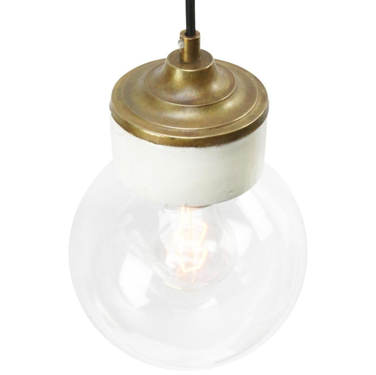 Porcelain industrial hanging lamp. White porcelain, brass and clear glass. 2 conductors, no ground.  Weight: 1.20 kg / 2.6 lb  Priced per individual item. All lamps have been made suitable by international standards for incandescent light bulbs,