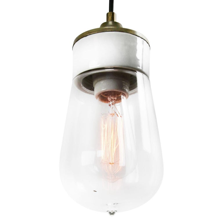 Dutch White Porcelain Clear Glass Vintage Industrial Brass Pendant Lights For Sale