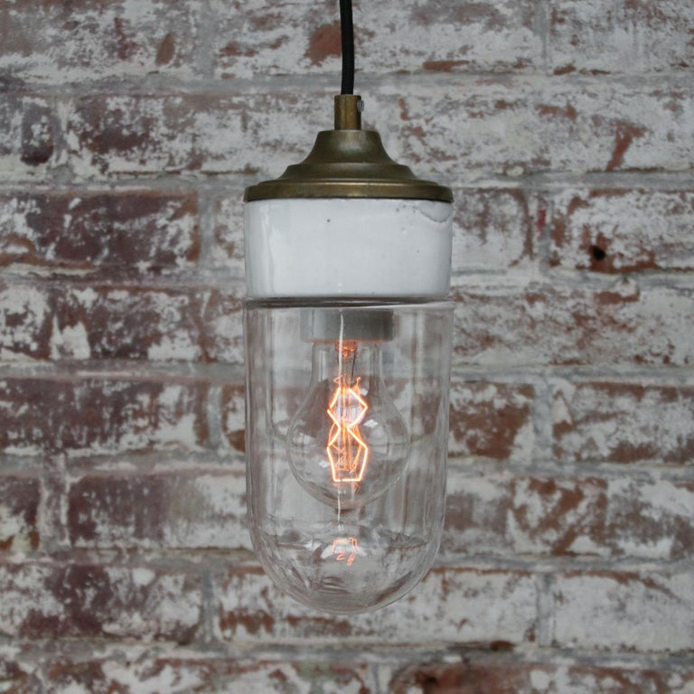White Porcelain Clear Glass Vintage Industrial Brass Pendant Lights In Excellent Condition In Amsterdam, NL