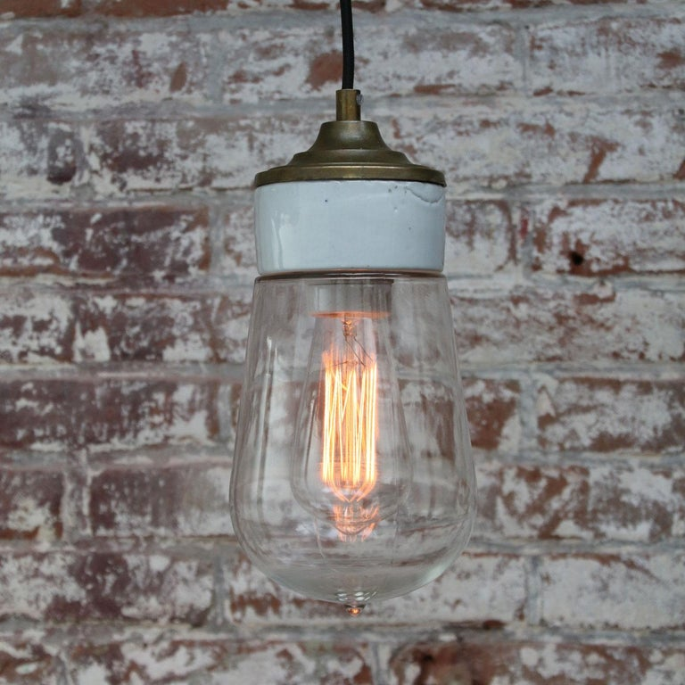 White Porcelain Clear Glass Vintage Industrial Brass Pendant Lights In Good Condition For Sale In Amsterdam, NL