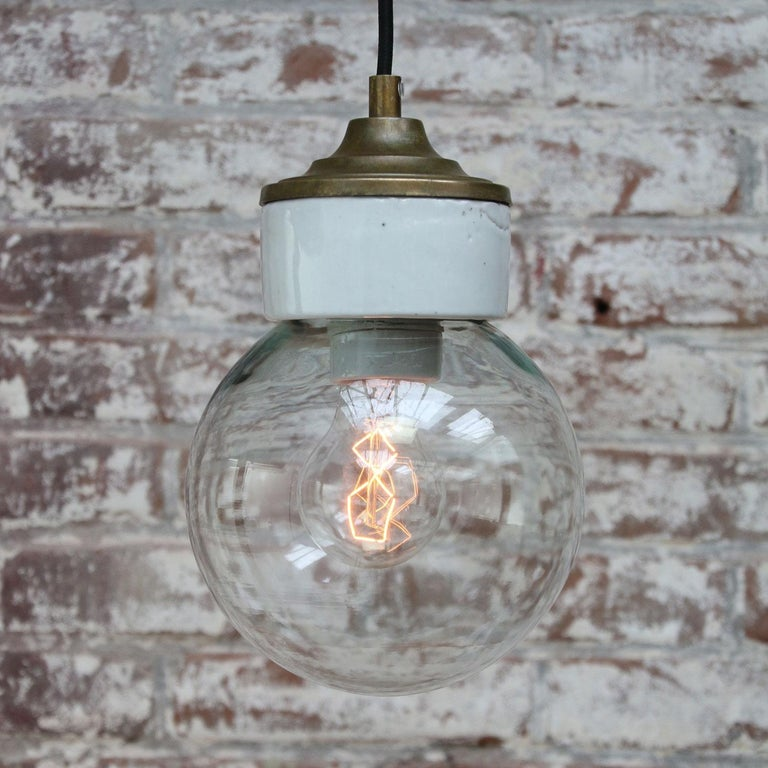White Porcelain Clear Glass Vintage Industrial Brass Pendant Lights In Excellent Condition For Sale In Amsterdam, NL