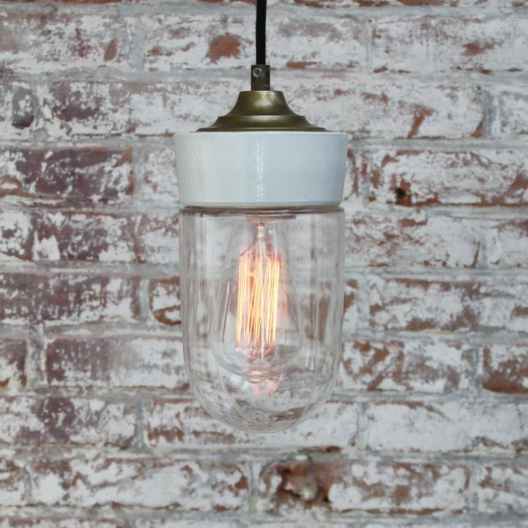 20th Century White Porcelain Clear Glass Vintage Industrial Brass Pendant Lights For Sale