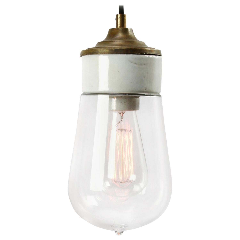 White Porcelain Clear Glass Vintage Industrial Brass Pendant Lights