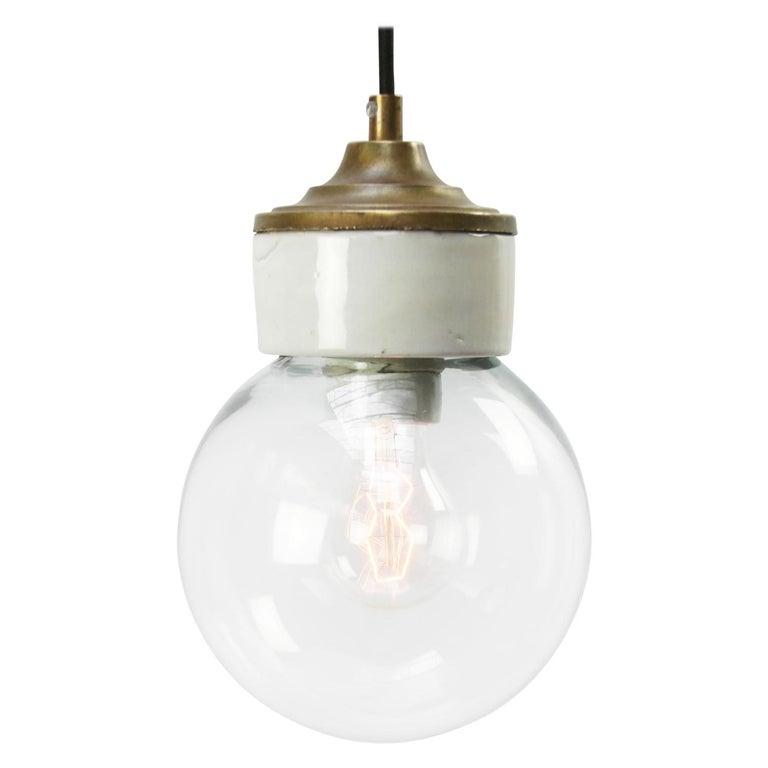 White Porcelain Clear Glass Vintage Industrial Brass Pendant Lights For Sale