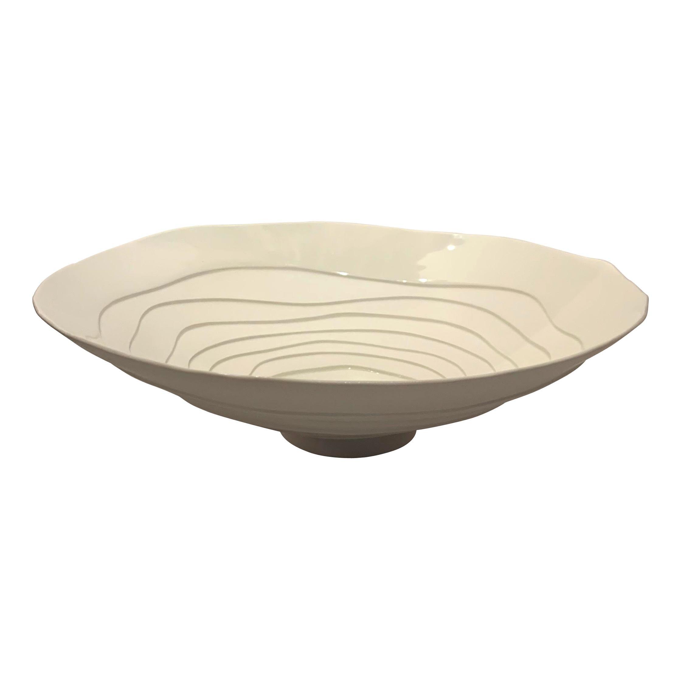 White Porcelain Concentric Circle Design Bowl, Italy, Contemporary