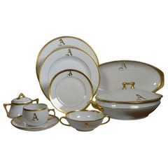 White Porcelain Dinnerware 149 Pieces, Gilt Rim