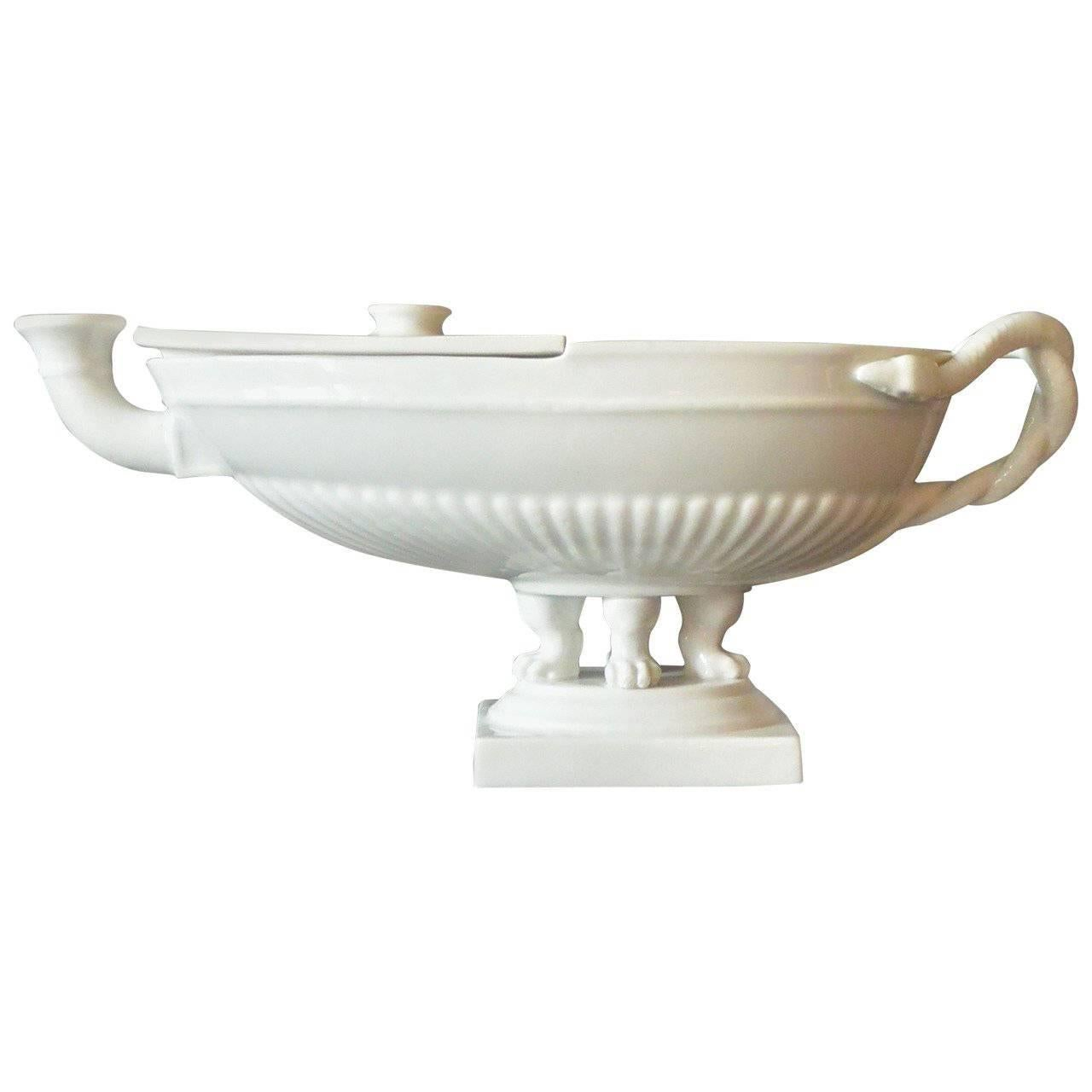 White Porcelain Neoclassical Style Amphora Oil Lamp