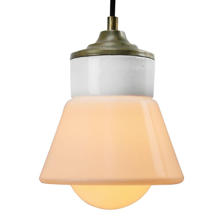 Porcelain industrial hanging lamp. White porcelain, brass and opaline glass. 2 conductors, no ground.  Weight: 2.00 kg / 4.4 lb  Priced per individual item. All lamps have been made suitable by international standards for incandescent light bulbs,
