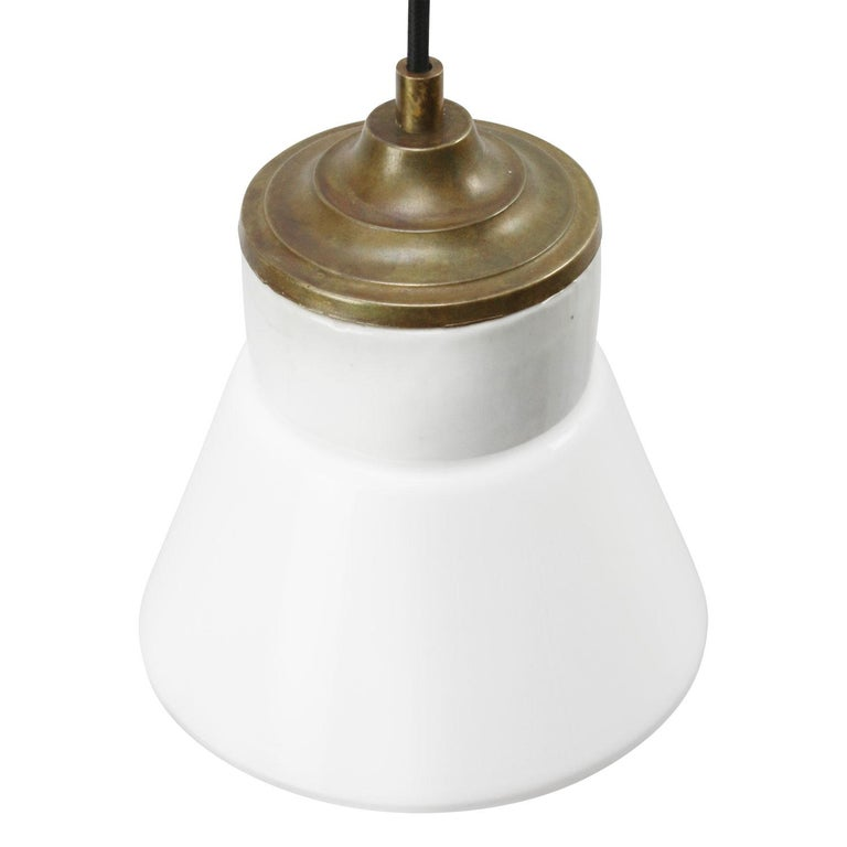 Dutch White Porcelain Opaline Glass Vintage Industrial Brass Pendant Lights For Sale