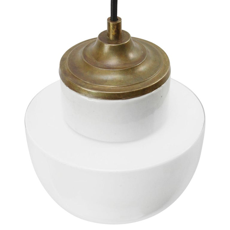 Dutch White Porcelain Opaline Glass Vintage Industrial Brass Pendant Lights For Sale