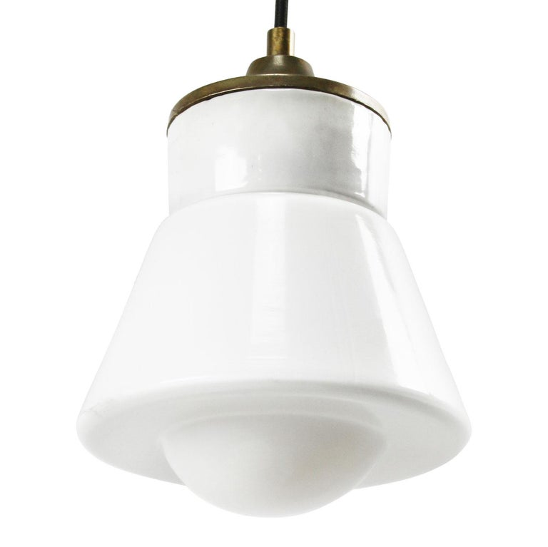 White Porcelain Opaline Glass Vintage Industrial Brass Pendant Lights In Excellent Condition For Sale In Amsterdam, NL